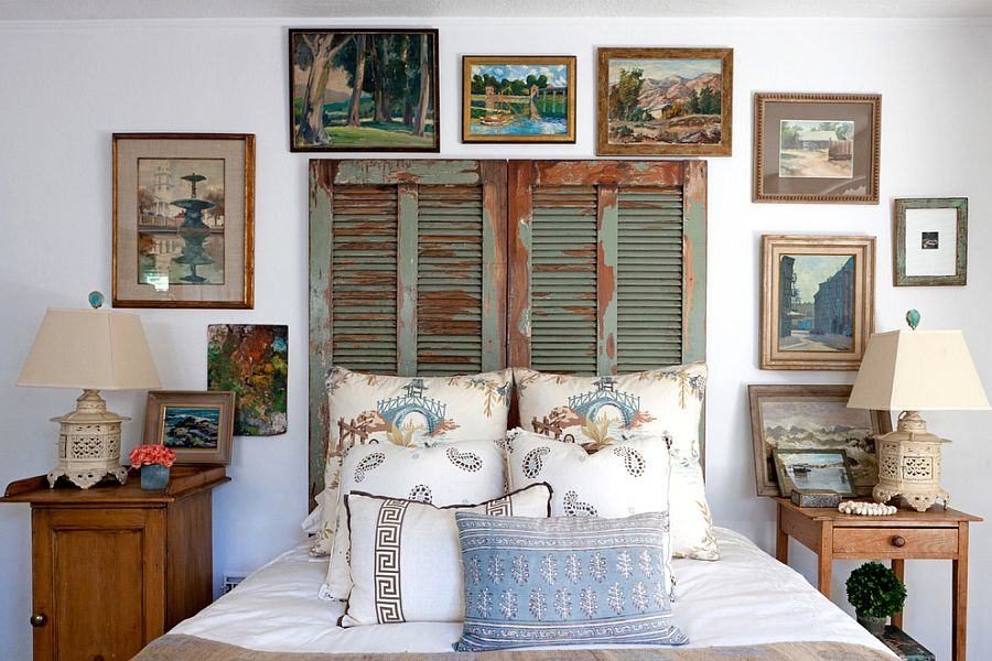 Old shutters repurposed as unique headboard for the shabby chic bedroom [Design: Leslie L. Hunt Interior Design]
