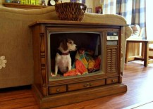 Old television set turned into a stylishly retro dog bed
