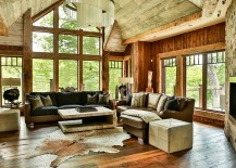 Open design of the interior and finishes inspired by homes in Colorado
