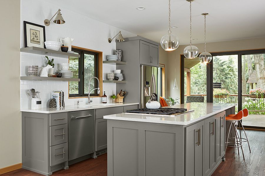 Open shelves coupled with lovely gray cabinets in the transitional kitchen [Design: Fiddlehead Design Group]