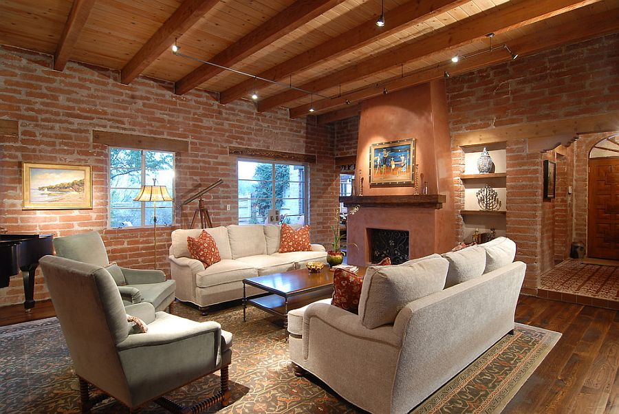 Original brick walls of 1960 structure steal the show in this southwestern living room [Design: Lisa Gildar Interior Spaces]