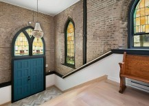 Original stained glass windows and exposed brickwork of the renovated church home 217x155 Chicago Church Converted into a Soaring Single Family Home