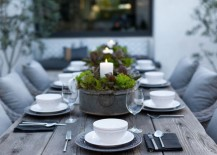 Outdoor dining table with candle centerpieces