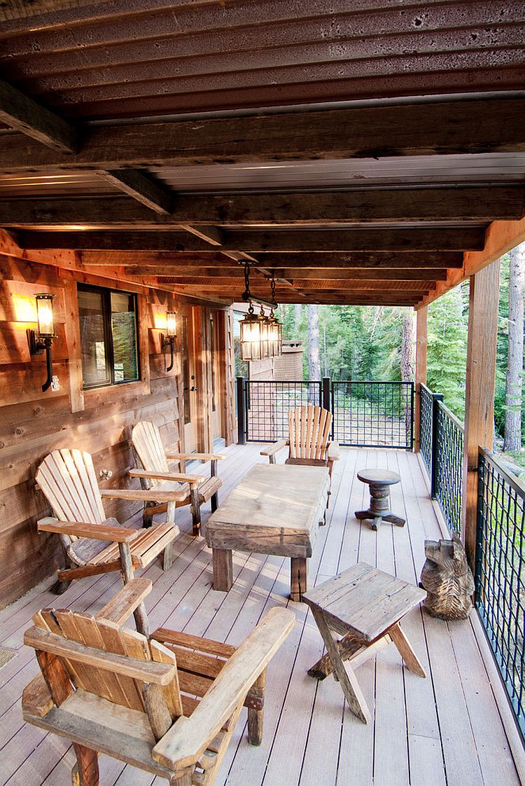Outdoor table and chairs seem like a natural extension of the woodsy deck! [Design: High Camp Home]