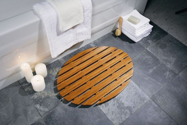 View in gallery Oval bamboo bath mat. 7 Bath Mat Ideas to Make Your Bathroom Feel More Like a Spa