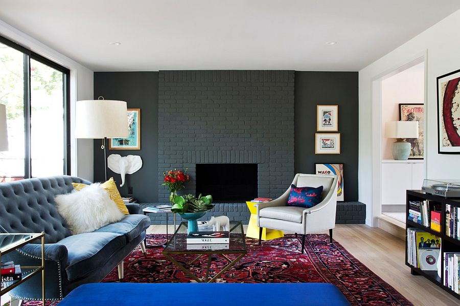 painted brick wall in gray for the contemporary home design stuart sampley architect - Designs For Room Walls