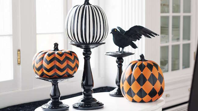 Painted pumpkins in stripes and zig-zag designs