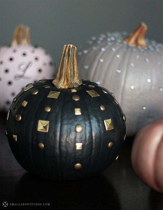 Painted pumpkins with bedazzled jewlels
