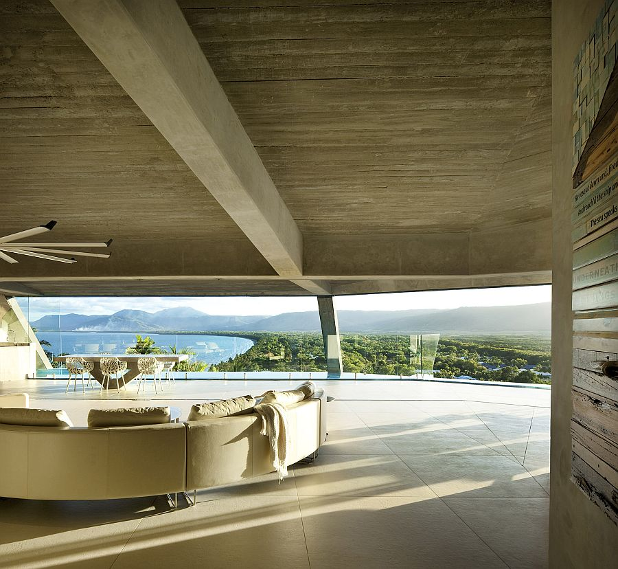 Panaromic views of the distant mountains and ocean from the captivating living area