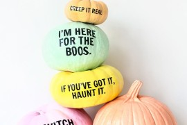 Pastel pumpkins with puns from Studio DIY 20 Last-Minute Halloween Ideas with Modern Flair 20 Last-Minute Halloween Ideas with Modern Flair Pastel pumpkins with puns from Studio DIY 270x180