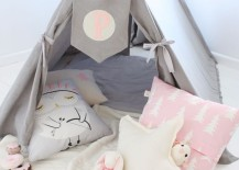 Pink white and gray teepee for a little girls reading nook 217x155 15 Whimsical Teepee Reading Nooks for Kids