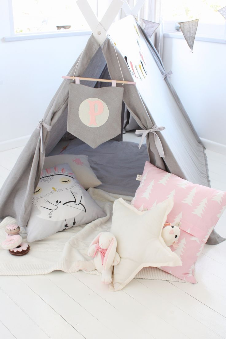 Pink, white, and gray teepee for a little girl's reading nook 15 Whimsical Teepee Reading Nooks for Kids 15 Whimsical Teepee Reading Nooks for Kids Pink white and gray teepee for a little girls reading nook