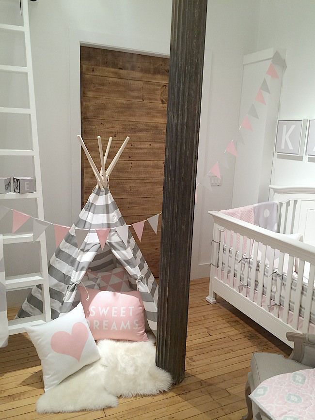Pink, white, and gray teepee in a little girl's nursery 15 Whimsical Teepee Reading Nooks for Kids 15 Whimsical Teepee Reading Nooks for Kids Pink white and gray teepee in a little girls nursery