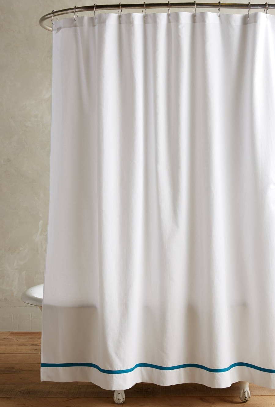 White fabric shower curtain - View In Gallery Pique Cotton Shower Curtain From Anthropologie
