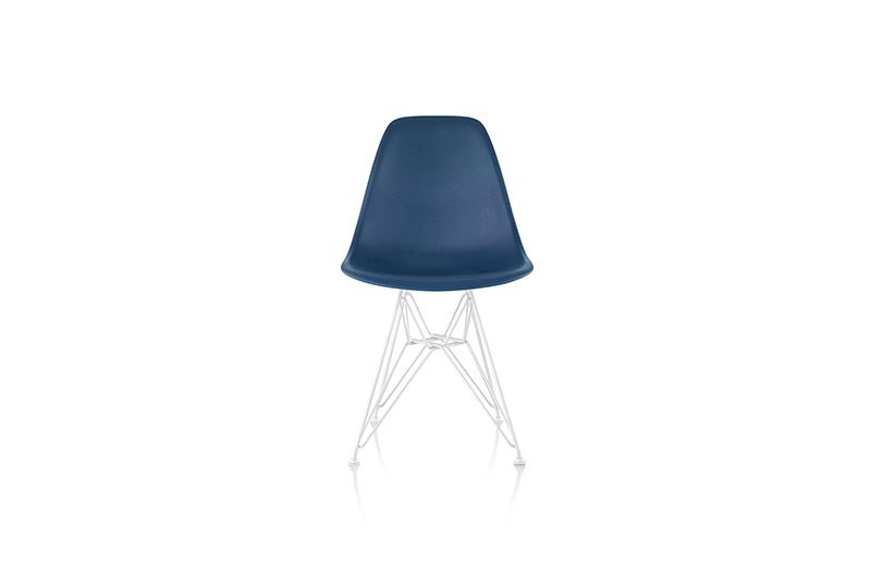 Plastic side chair and Eiffel base