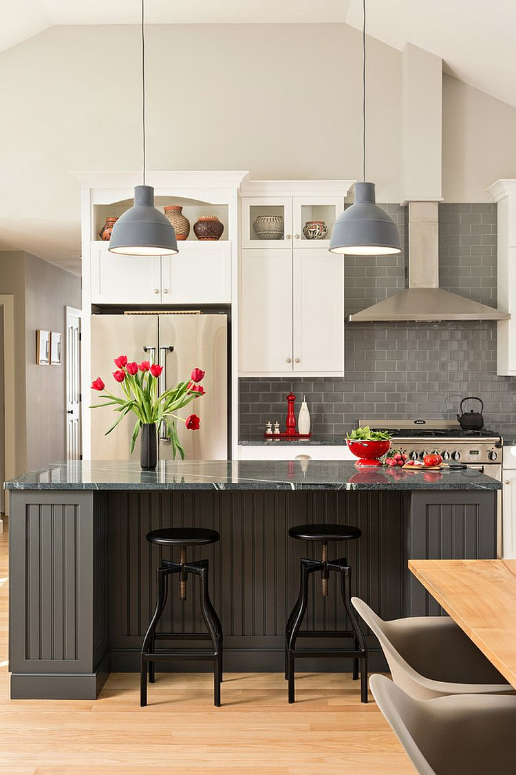 Pops of red brighten the kitchen in multiple shades of gray [Design: George Davis]