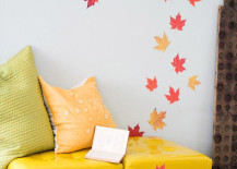 Pressed leaves attached to wall and furniture 217x155 8 Creative DIY Project Ideas for Using Fall Leaves as Seasonal Wall Art