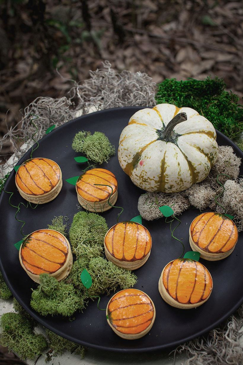 Pumpkin macarons from Camille Styles