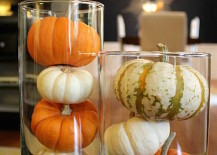 Pumpkins in tall glass cylinders