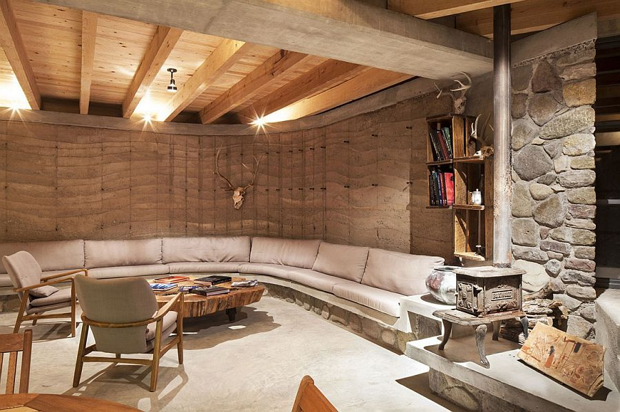 Rammed earth, river racks and natural materials found from ranches and sandbanks shape the unique residence