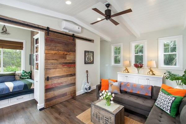 Barn Door Leads To The Small Home Bar In The Living Room