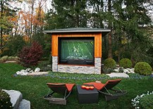 Rear projector TV with weather controlled case for the outdoor TV experience