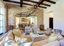 Reclaimed old Chicago brick is perfect for the Mediterranean style interior [Design: Phillip Jennings Custom Homes]