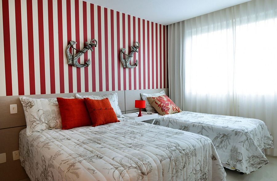 red and white stripes for the nautical themed bedroom in white