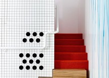 Red turns the small staircase into a striking addition