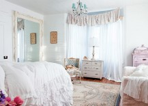 Renaissance Mirror is the statement piece in this soothing white and pastel blue bedroom [Design: Rachel Ashwell Shabby Chic Couture / Amy Neunsinger]