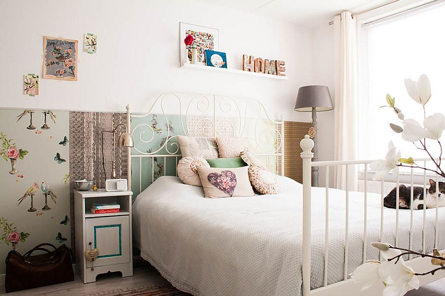 ... Reusing Materials Is An Essential Component Of This Shabby Chic Bedroom  [Design: Louise De