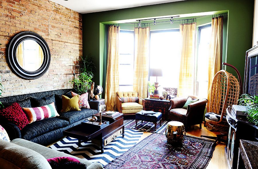 Rich and vibrant colors for the eclectic living room [Design: SuzAnn Kletzien Design]