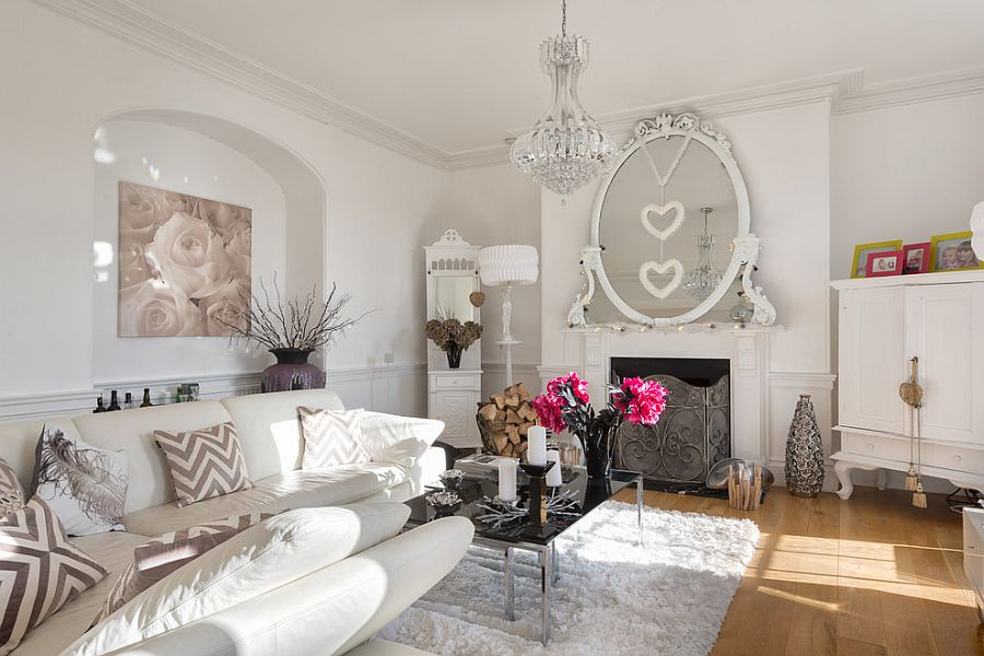 Romantic living room design with shabby chic style! [From: Colin Cadle Photography]
