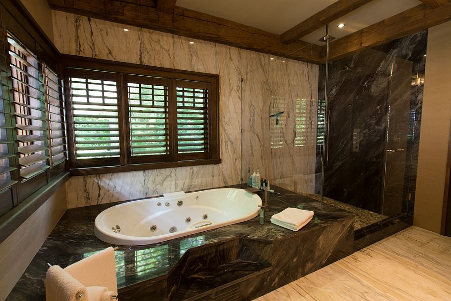 Rustic bathroom design idea with a splash of luxury