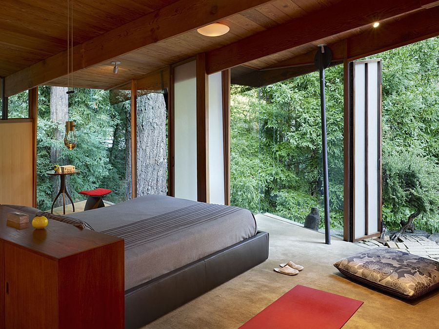 Rustic bedroom with amazing forest views is Zen-conjuring in its own unique way [Design: Dwyer Design]