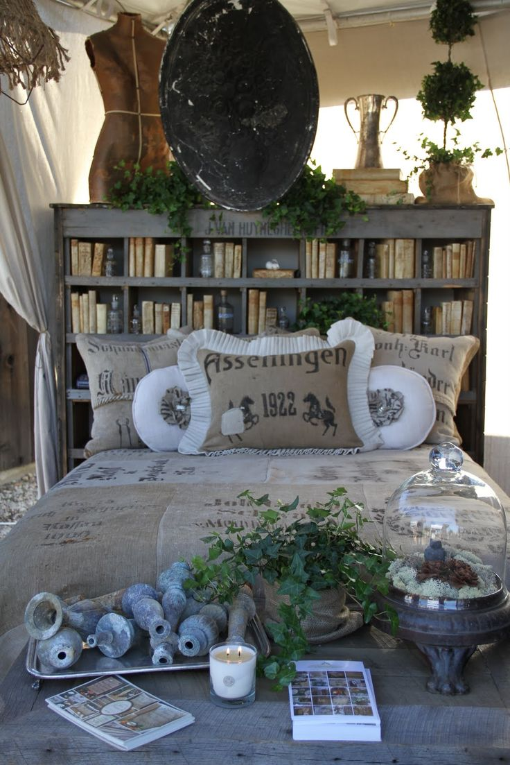 Rustic bookshelf that matches bedding