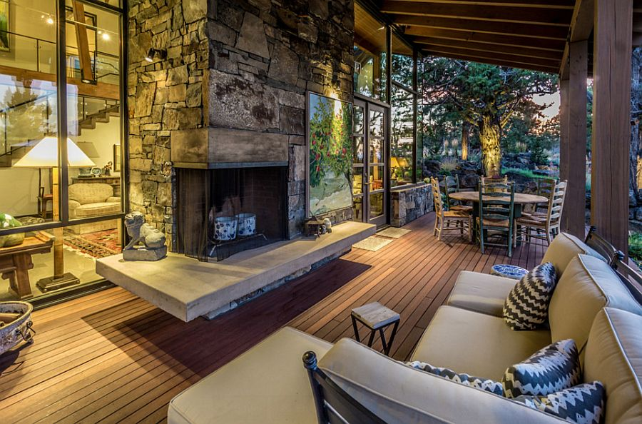 Rustic deck design seems like an extension of the living space indoors [Design: Pacwest Homes]