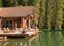 Rustic deck of the Headwaters Camp Cabin in Montana