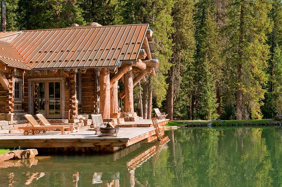Rustic deck of the Headwaters Camp Cabin in Montana [Design: Dan Joseph Architects]