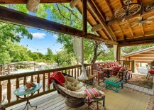 Rustic deck with lighter wooden tones and breezy decor serve you well all your long