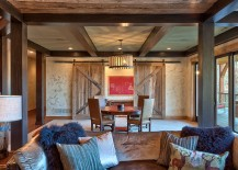 Rustic living room with sliding barn doors