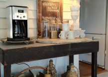 Rustic table and accessories used for a coffee station