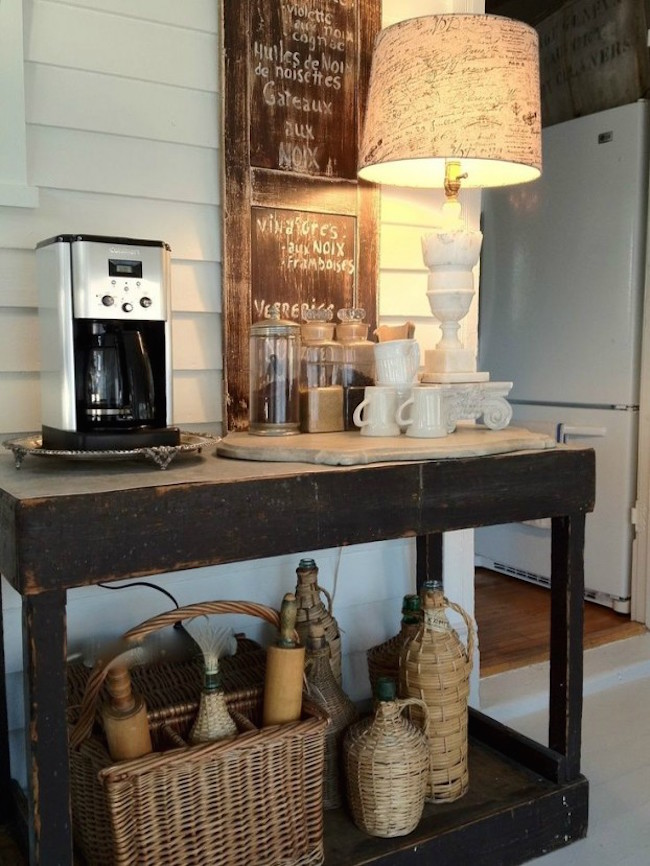20 charming coffee stations to wake up to every morning rustic table and accessories used for a coffee station watchthetrailerfo