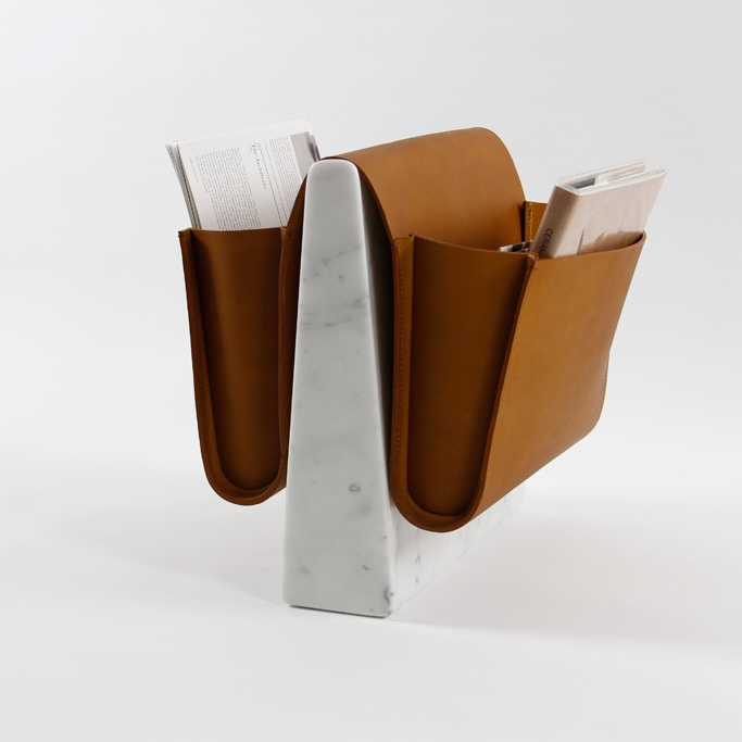 Saddle magazine rack with marble base