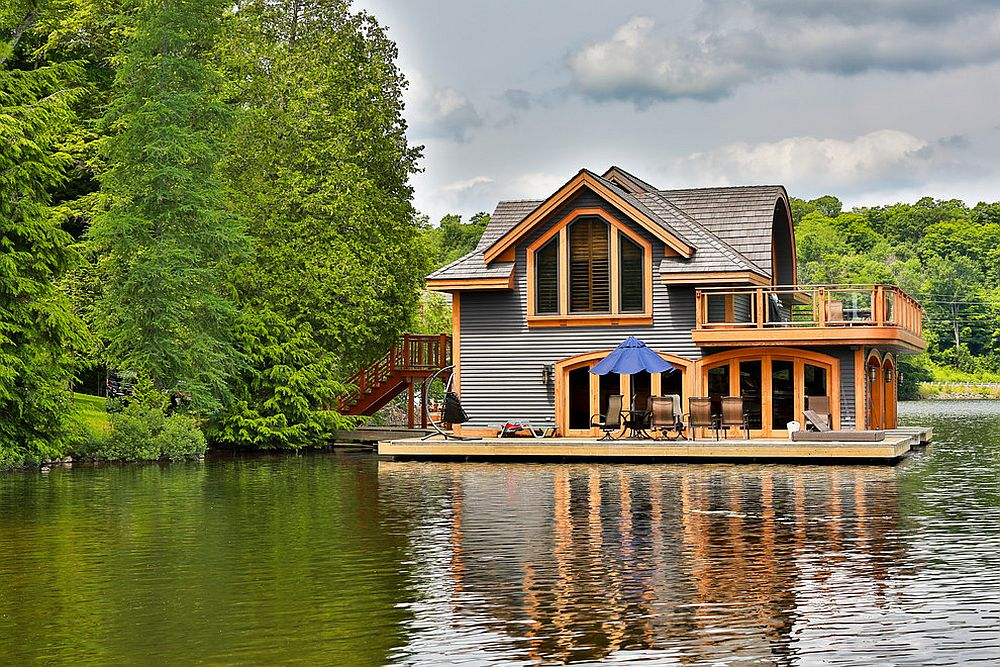 Scenic landscape surrounds the beautiful lakeside getaway