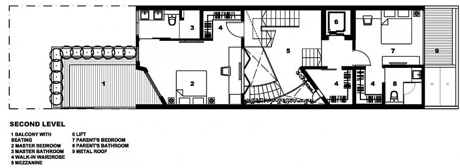 Second level floor plan with master suite and additional spaces