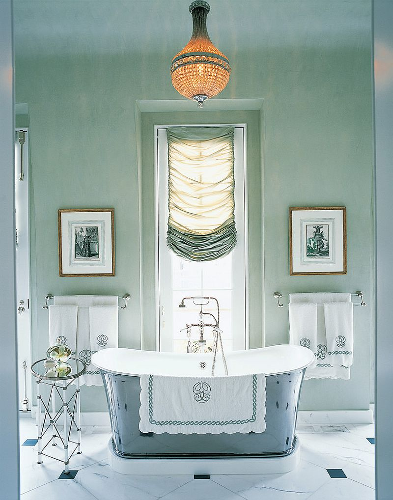 Serene and pleasing bathroom with custom silk window shade and an air of opulence [Design: Branca, Inc.]