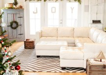 Shabby chic living room in white with holiday decorations [From: Julie Ranee Photography]