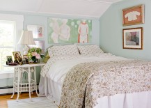 Shabby chic style creates a cozy bedroom despite the excessive use of white [Photography: Rikki Snyder]