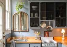 Shale makes a big visual impact in the small kitchen